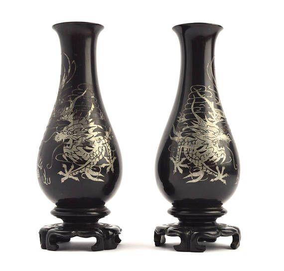 Vintage Lacquerware Vases Pair Of Black Bud Vases Posy Vase Home