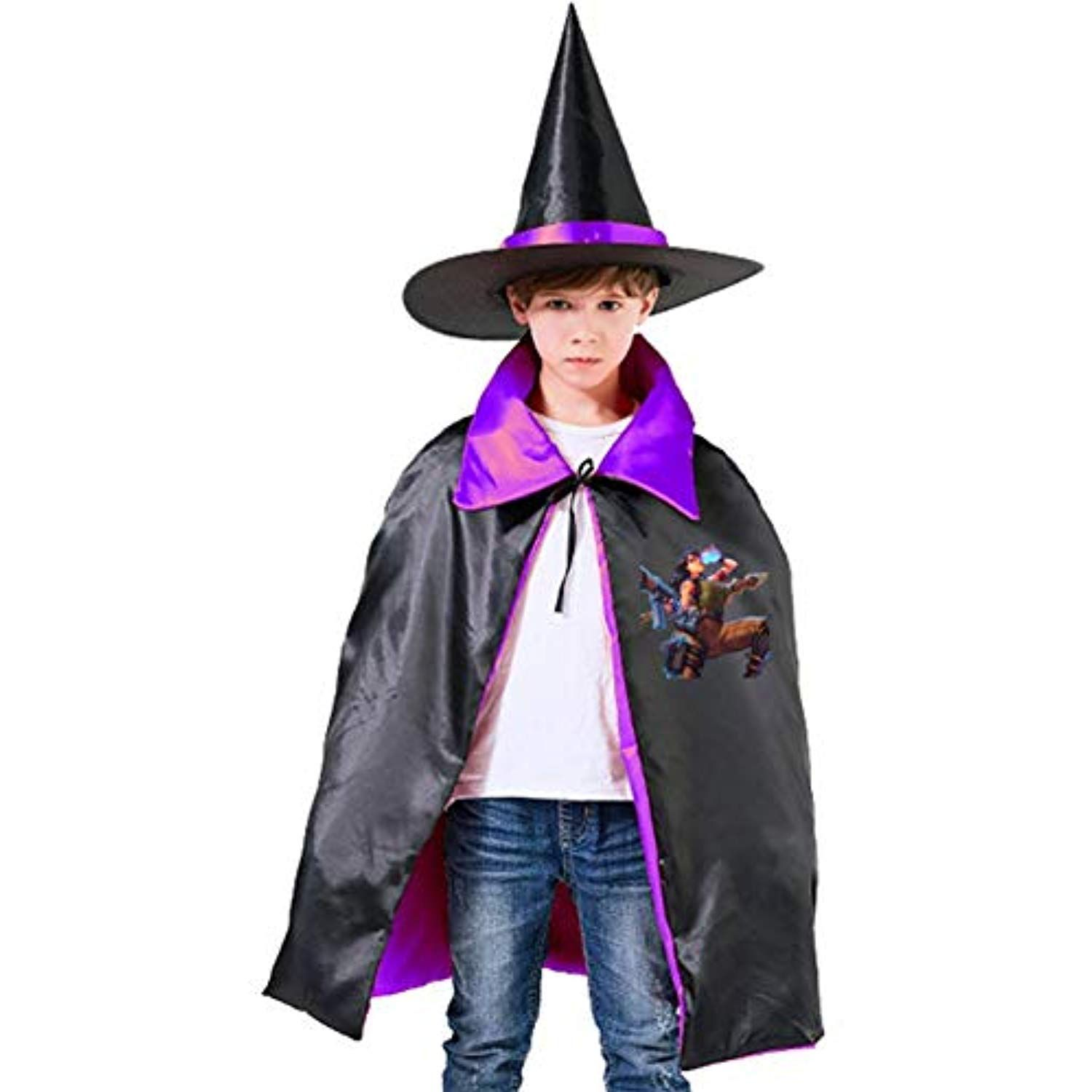 Witch Wizard Cloak Hooded Cape Kid//Adult Stage Fancy Dress Halloween 4 Colours