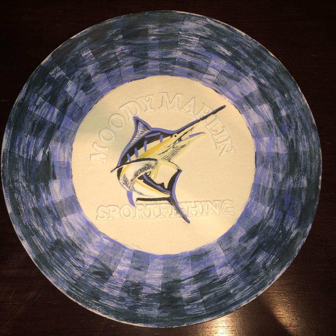 "Custom order ""Moody Marlin Sportfishing"" platter, ready for glaze firing"