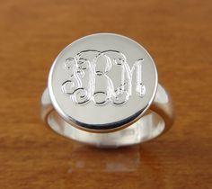 Monogram Ring, Initial Ring, Personalized Ring, Engraved Ring Bridesmaids Ring. $44.95, via Etsy.