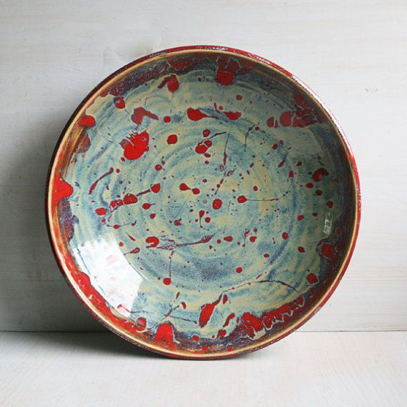 Ceramic Bowl Center Piece Multi Colored Shallow Bowl Serving Platter Stoneware Pottery Dinnerware Rustic Art Pottery & Ceramic Bowl Center Piece Multi Colored Shallow Bowl Serving Platter ...