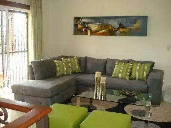 Sala En Tonos Gris Y Verde Home Living Room Home Decor