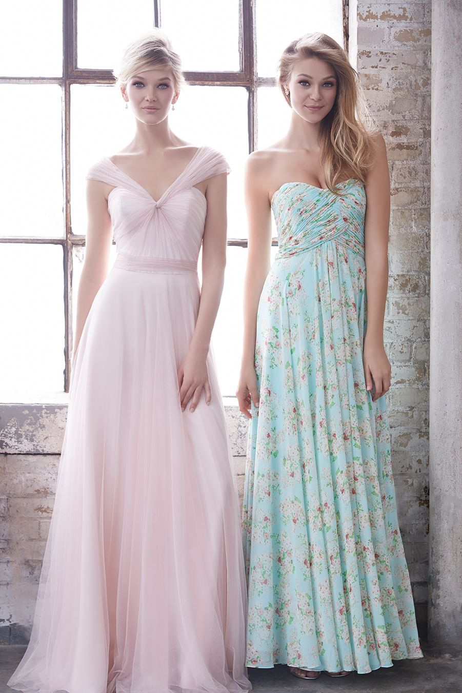 Allure Bridesmaids 1450 (L// light pink) + 1490 (R// aqua print ...