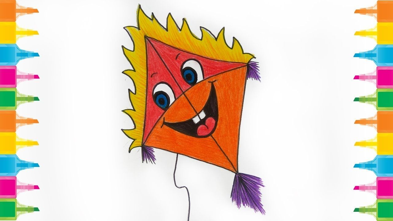 How To Draw A Kite For Kids Cute Kite Drawing Kitedrawing