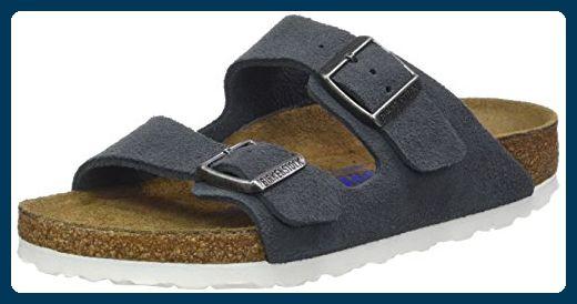 BIRKENSTOCK Classic Unisex-Erwachsene Arizona Leder Softfootbed Pantoletten, Grau (Stone), 38 EU