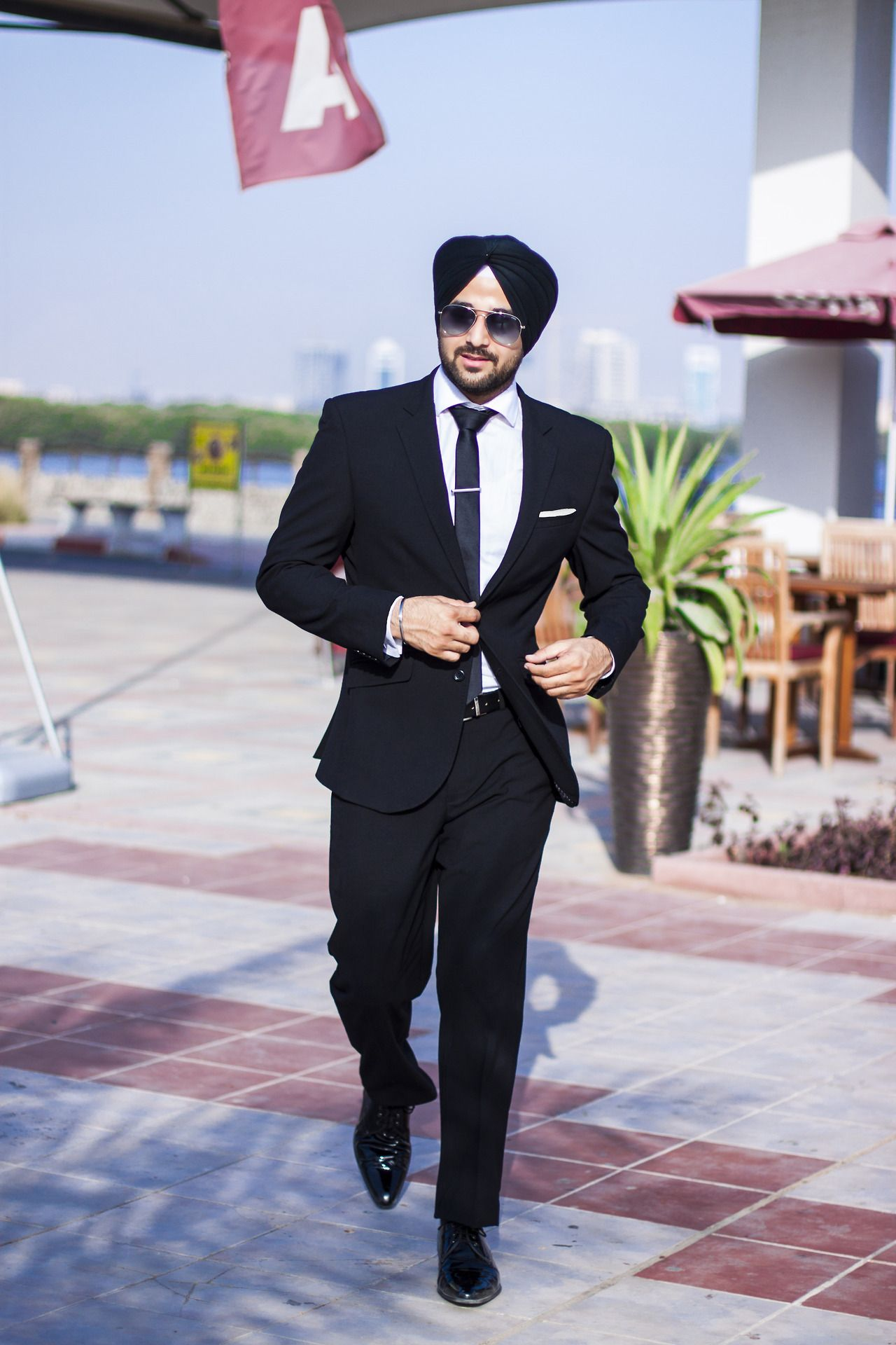 Sikh Model Men Fashion Style Urban Sardar Black Suit Dasi Neck Tie Slim Polos Wedding Best Man Square Orange Surjit Singh