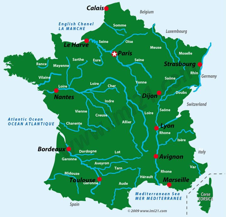 Simple Physical Map of France map showing the main rivers which