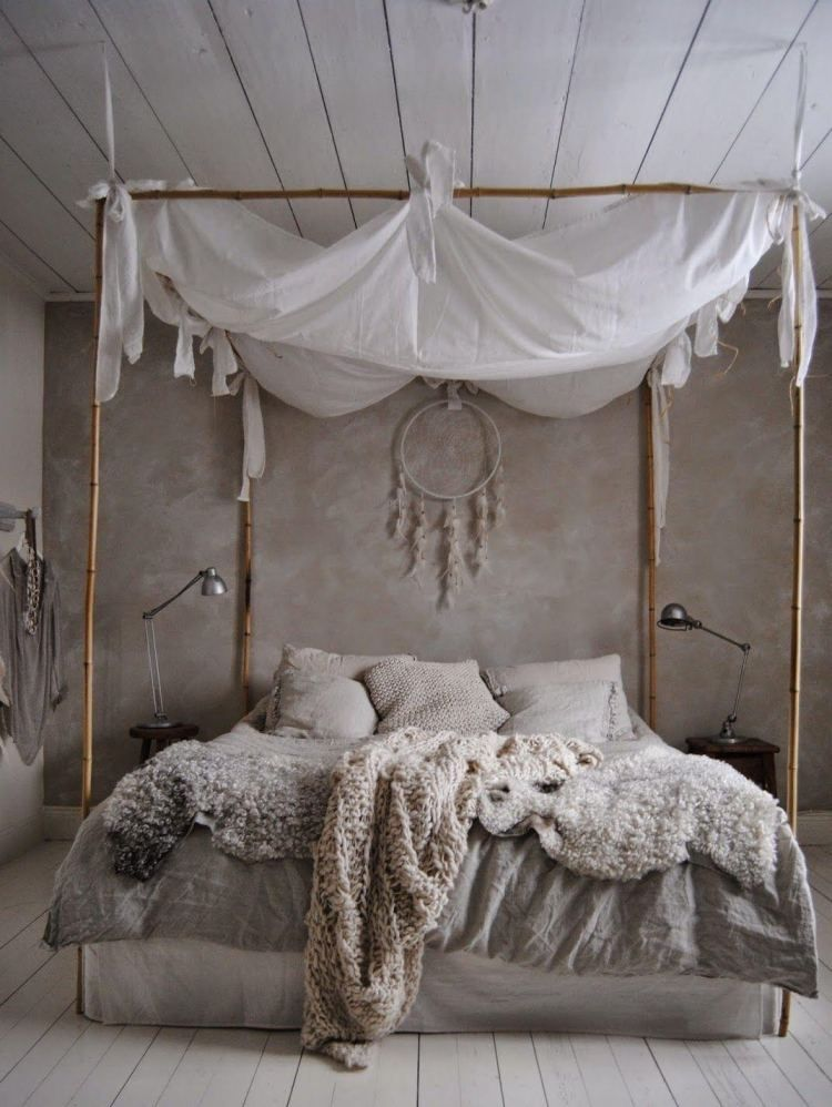 chambre boh me atmosph re romantique en blanc bedrooms boho and room. Black Bedroom Furniture Sets. Home Design Ideas