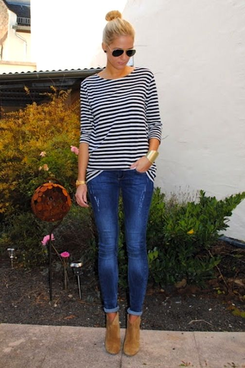 I absolutely love stripey tee's paired with jeans and boots.