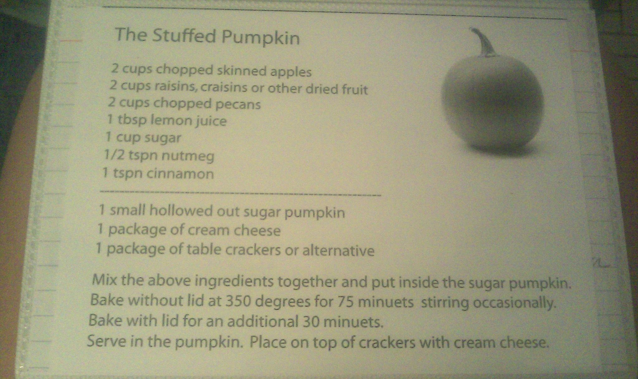The Stuffed Pumpkin  This is a great & easy recipe for casual get-togethers or a dish-to-pass for Thanksgiving.