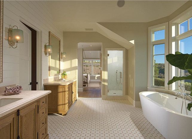 Gorgeous Bathroom With Marble Flooring And Crema Marfil Marble Countertop.