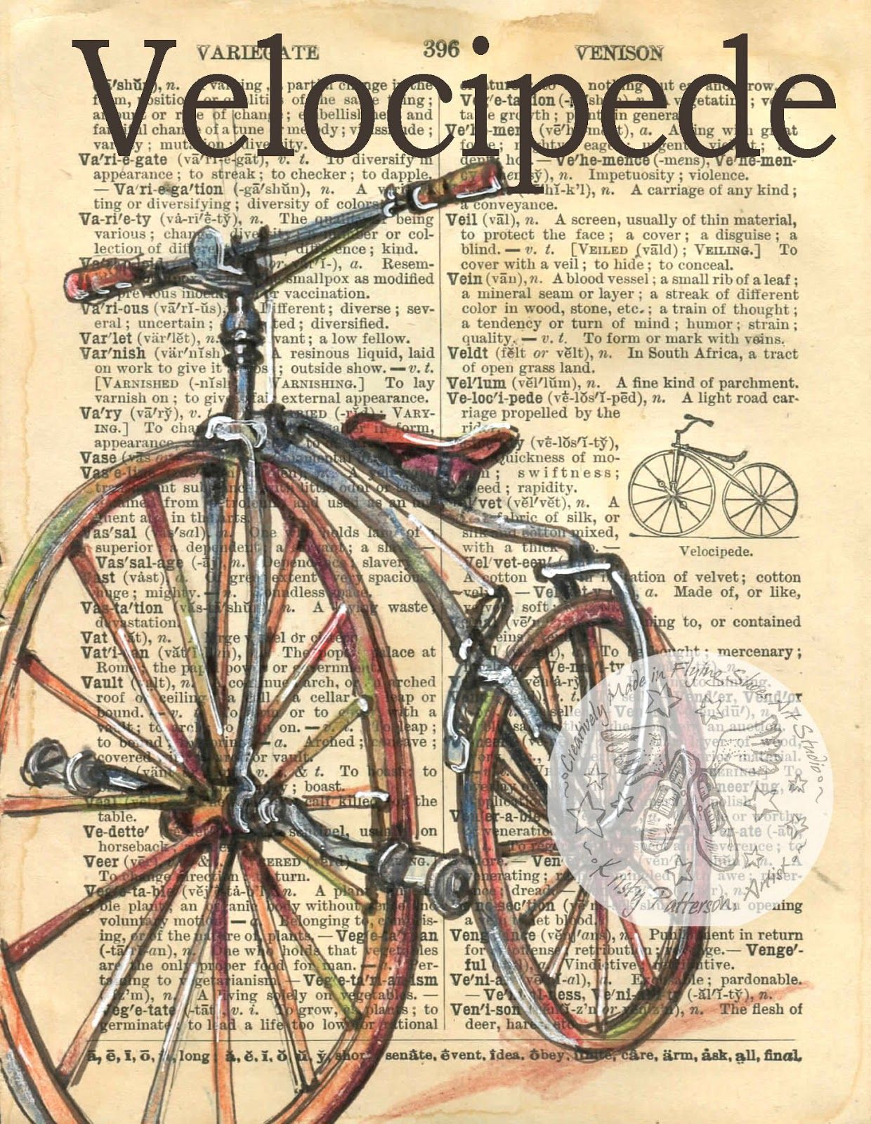 Velocipede Bicycle Drawing Book Page Art Book Art