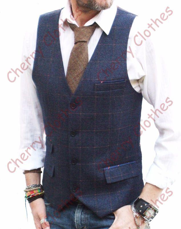 Mens Blue Amp Brown Check Slim Fit Tweed Style Waistcoat