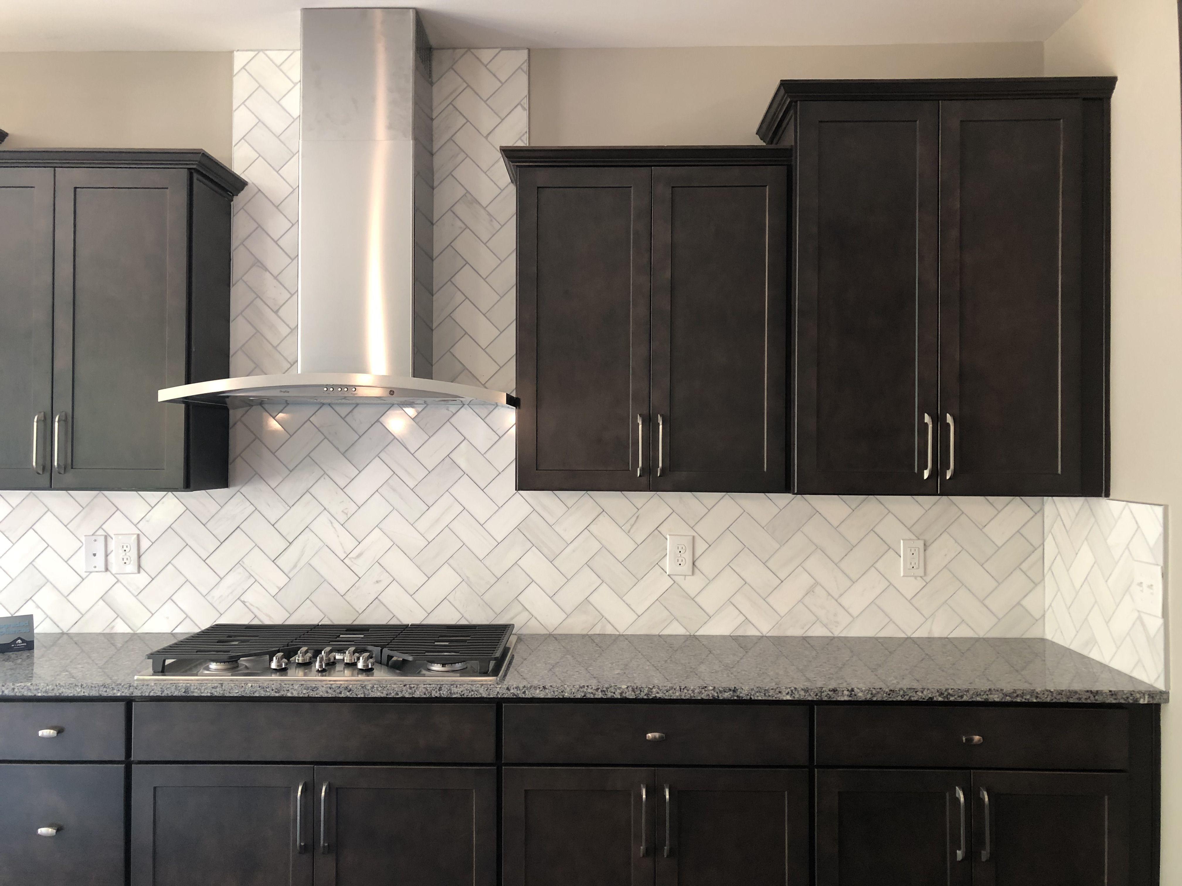 herringbone backsplash kitchen