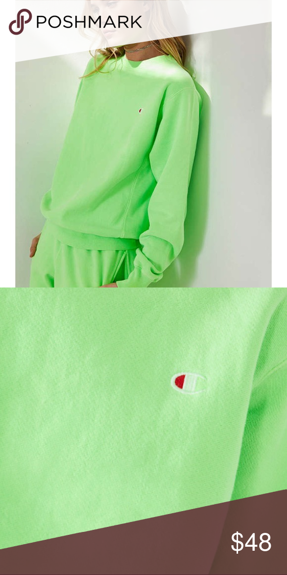 on wholesale 2019 factory price pretty cool Lime Green Champion Crewneck Sweatshirt UO Super bright lime ...