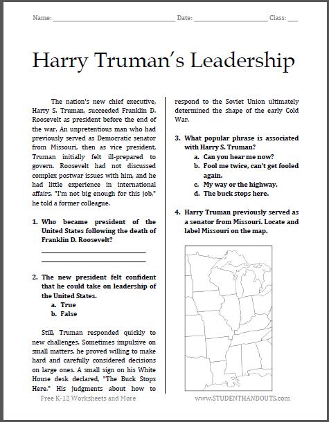 Worksheets Leadership Worksheets harry trumans leadership free printable worksheet for high school american history students