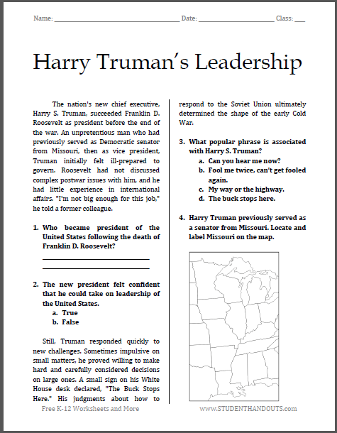 Worksheets For High School Students : Harry truman s leadership free printable worksheet for