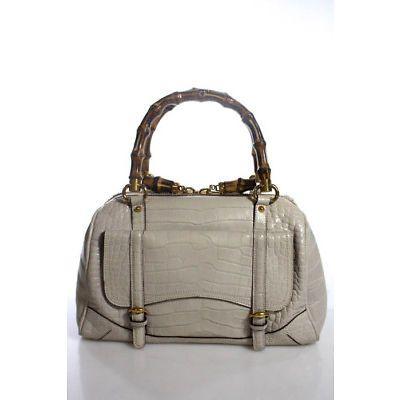 c346d8092 Gucci Limited Edition Off White Crocodile Bamboo Top Handle Boston Handbag