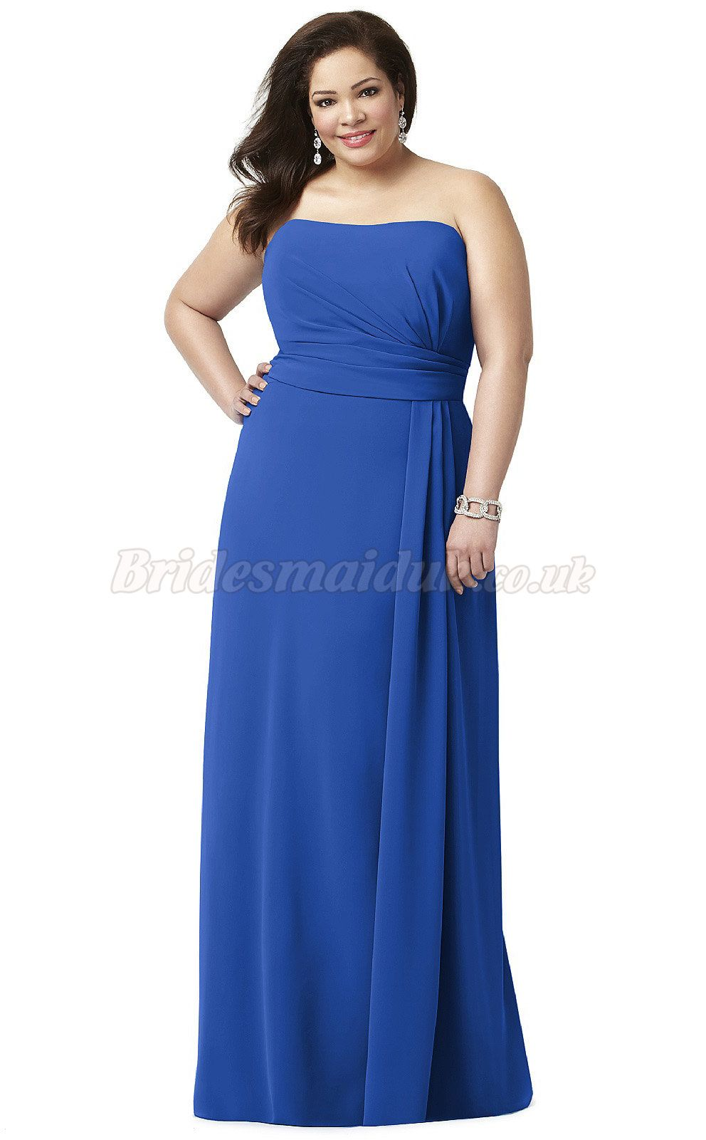 Long Strapless A Line Discounted Plus Size Blue Bridesmaid Dresses ...