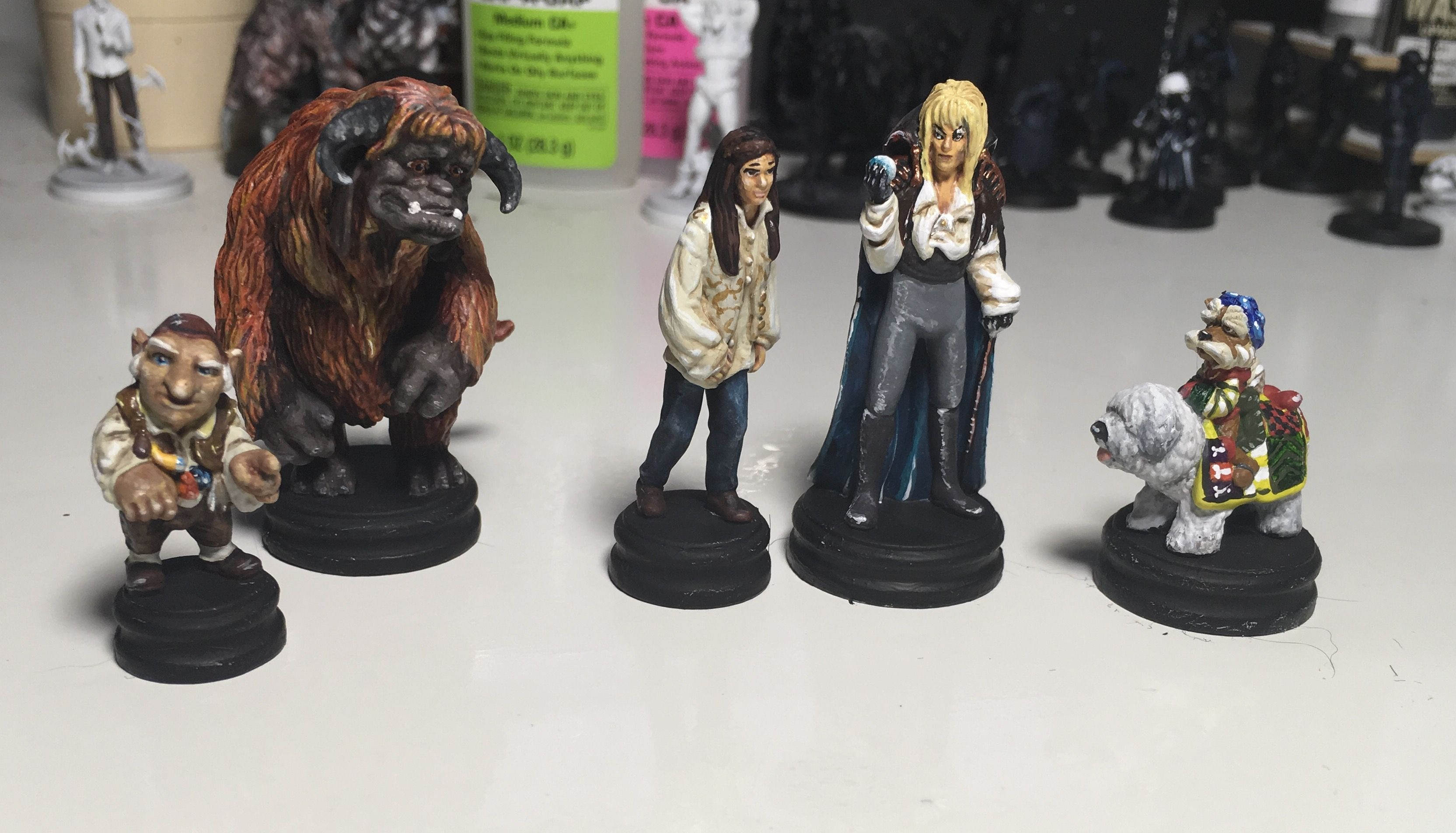 Labyrinth miniatures from the board game painted by Chantal Noordeloos
