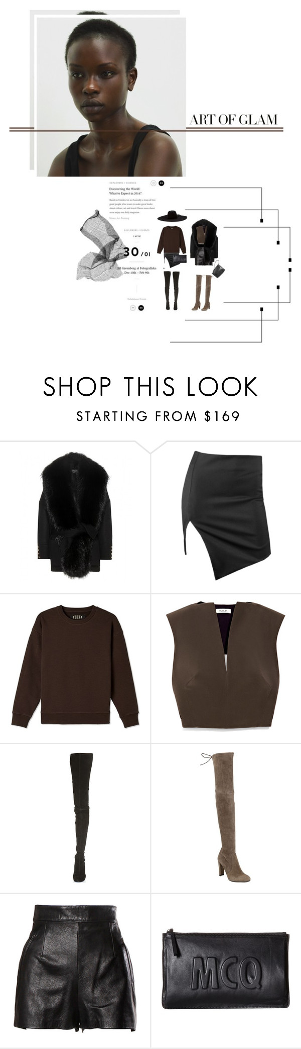 """""""[art of g l a m]"""" by furhious ❤ liked on Polyvore featuring Balmain, Bec & Bridge, Thierry Mugler, Maison Margiela, Stuart Weitzman, Moschino, Lanvin, McQ by Alexander McQueen and Rick Owens"""