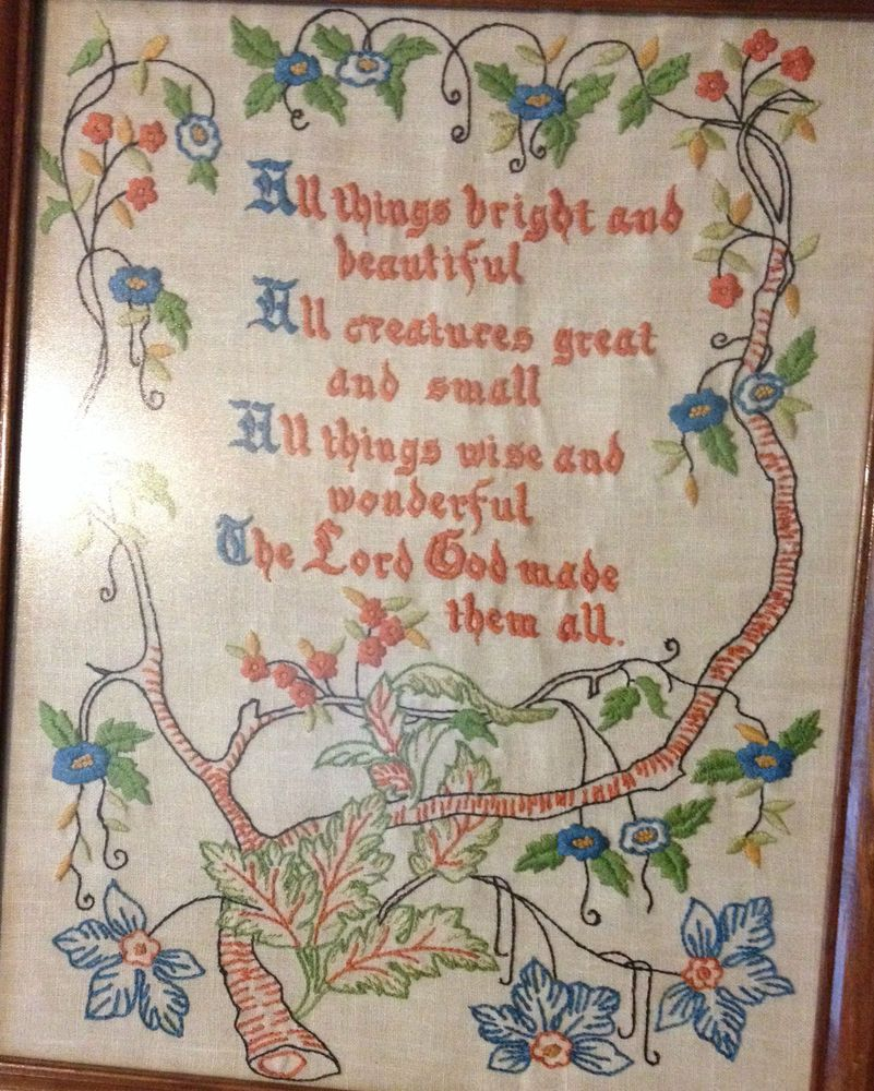 Vintage Completed & Framed Sampler Tree of Life ALL THINGS BRIGHT & BEAUTIFUL