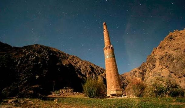 The Minaret of Jam is a 12th century tower located where the Hari River meets the River Jam in the Sharhrak district of Afghanistan. Standing 65 meters above the valley, it is the only surviving monum