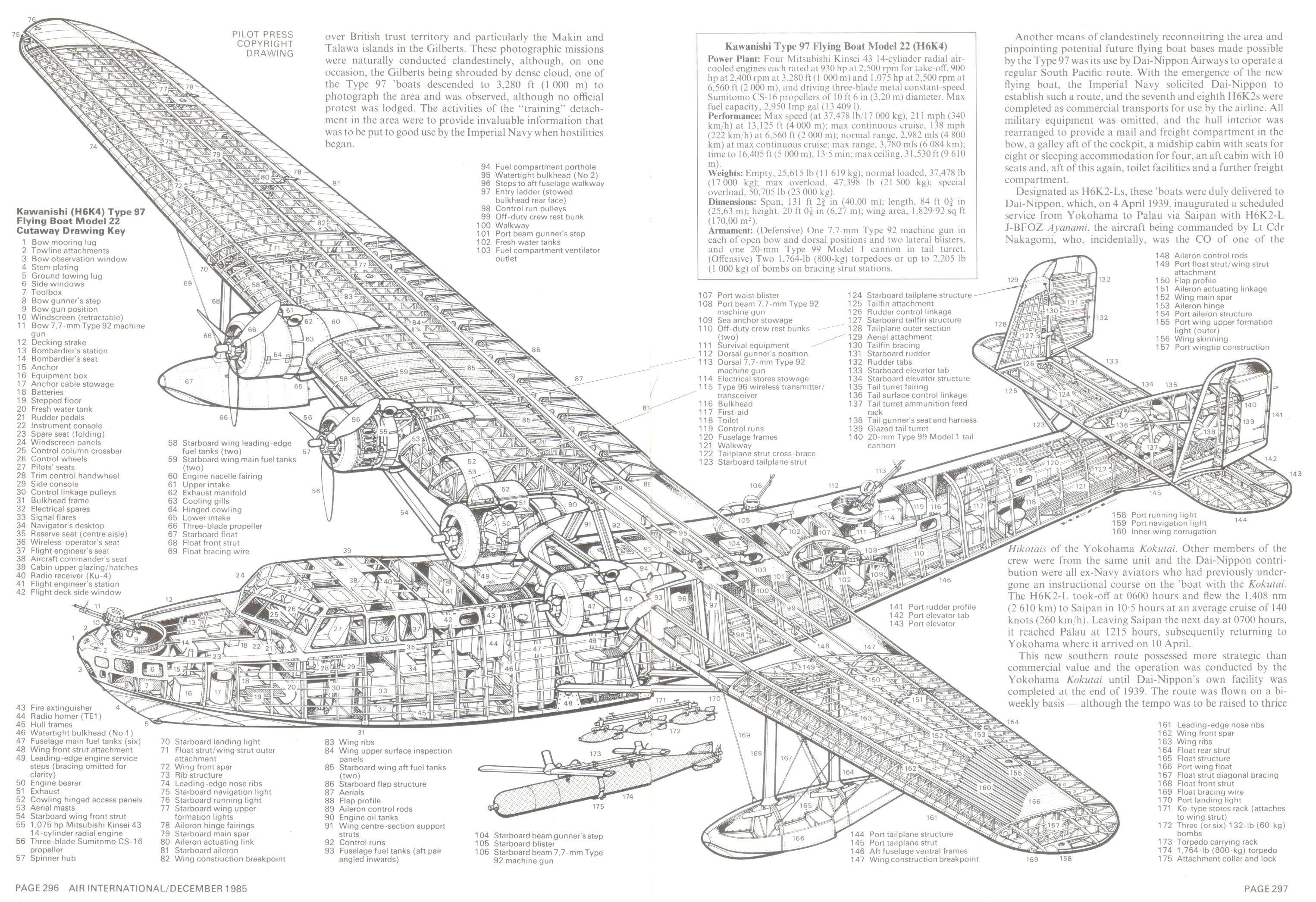 "H6K4 ""Mavis"" Flying boat cutaway [3052 x 2092]"