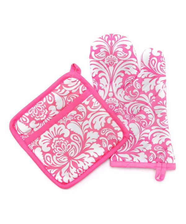 Another great find on #zulily! Pink Cosmo Damask Oven Mitt & Pot Holder by Design Imports #zulilyfinds