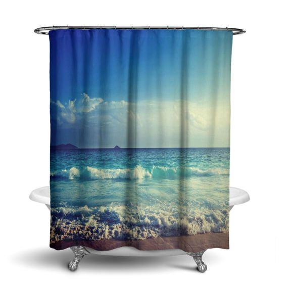 Ocean Beach Water Sky Blue Shower Curtain By KaliLainePrintShop