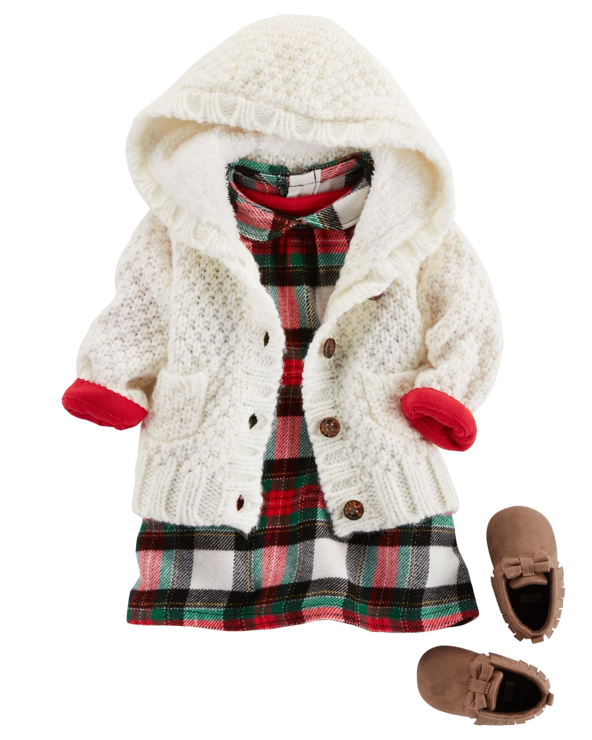 Flannel jacket with wool lining  A quick and easy holiday outfit this soft cotton bodysuit pairs