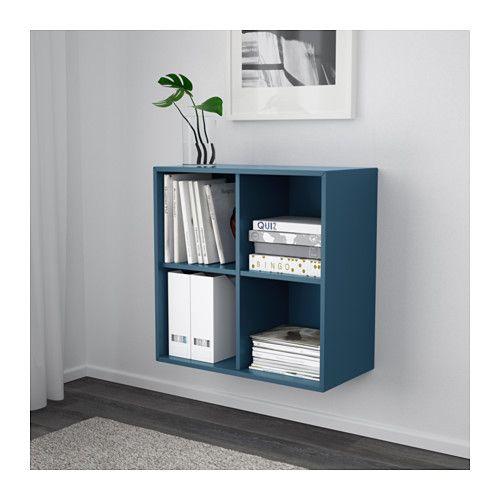 EKET Schrank mit 4 Fächern, weiß | Dunkelblau, Ikea und Schränkchen