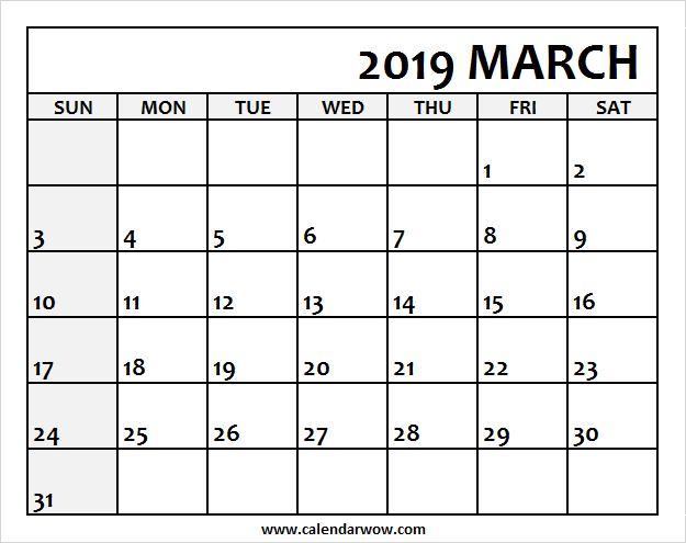 photo relating to Free Printable March Calendar titled Blank March Calendar 2019 Printable 2018 Calendar