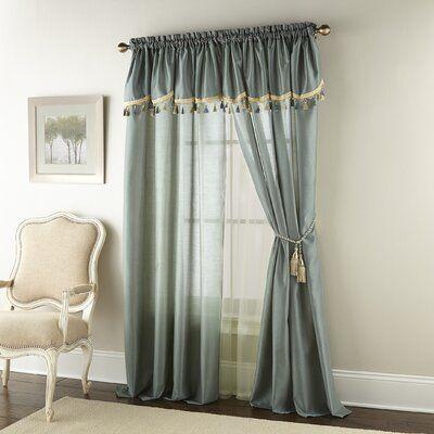 Astoria Grand Delois Luxury Semi Sheer Rod Pocket Curtain Panels