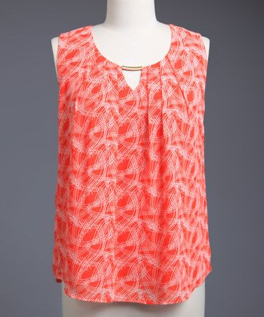 This Tomato Red Keyhole Sleeveless Top - Plus is perfect! #zulilyfinds