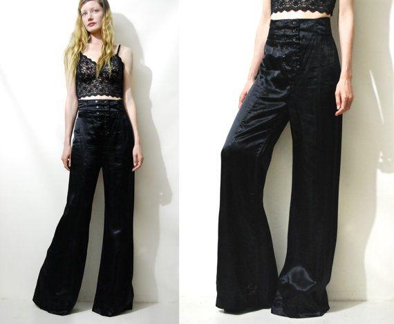 bdbdb5aafa7eb3 70s Vintage SATIN Flared PANTS Black Shiny Highwaisted Glam Disco Wide Leg  Flares Bell Bottoms 1970s vtg M