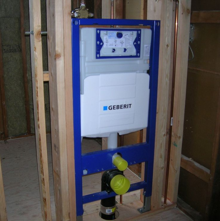 Geberit in wall carrier frame system to support the for Geberit toilet system