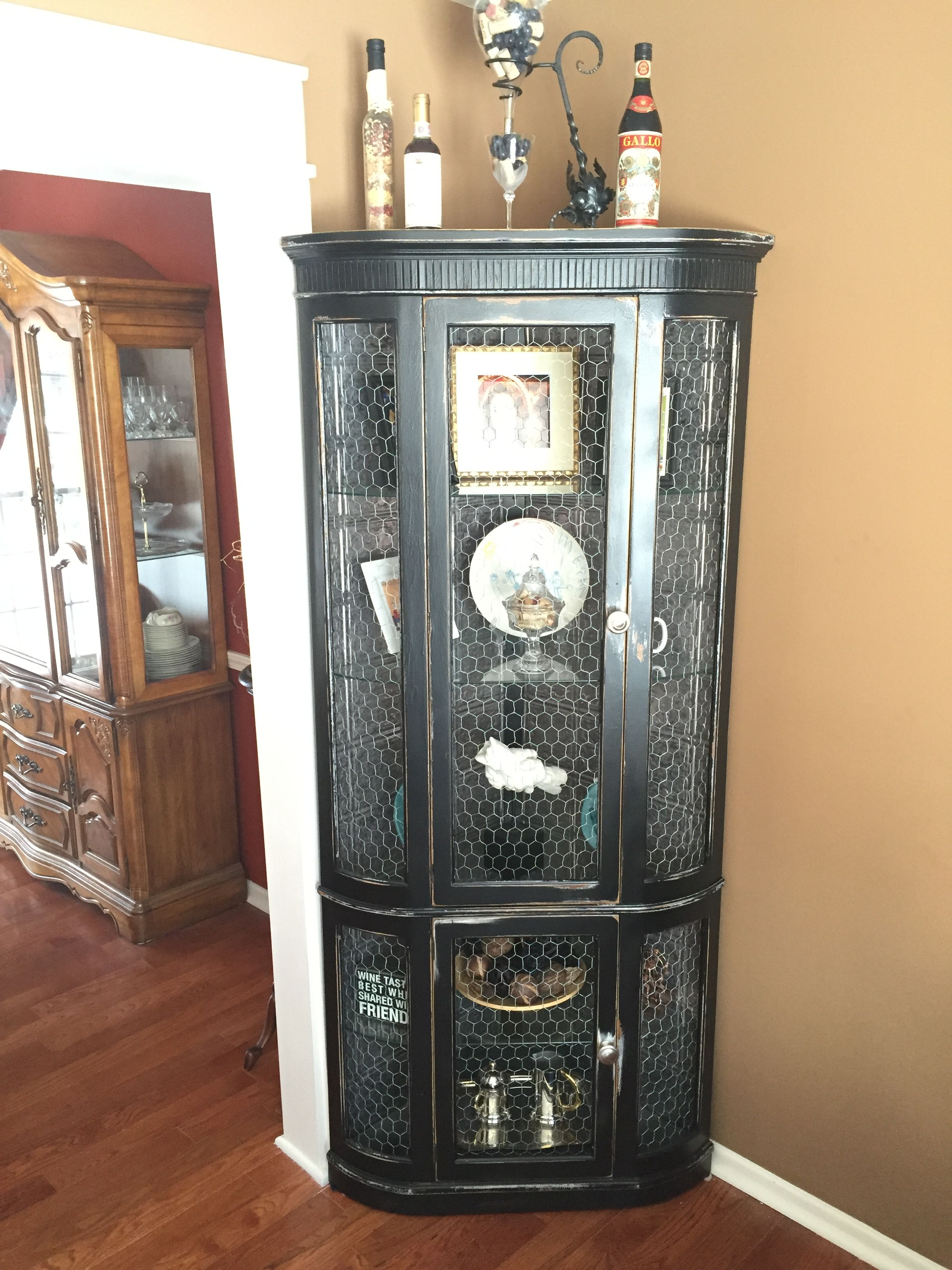 Distressed Curio Cabinet With Chicken Wire Doors And