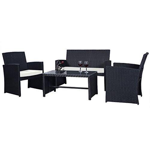 Buy Goplus 4 PC Rattan Patio Furniture Set Black Wicker Garden Lawn