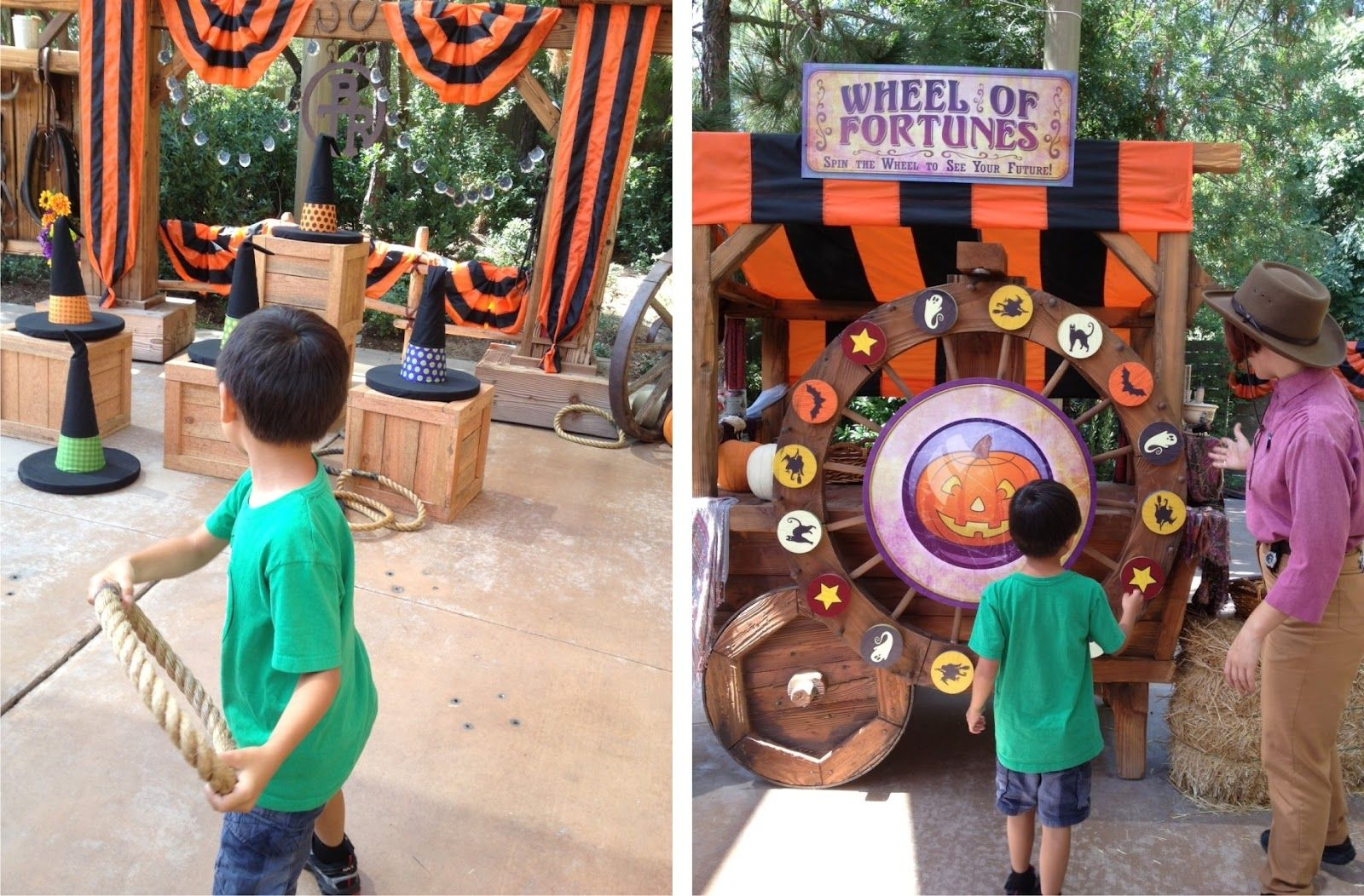 halloween carnival games - orange cones covered to look like witch