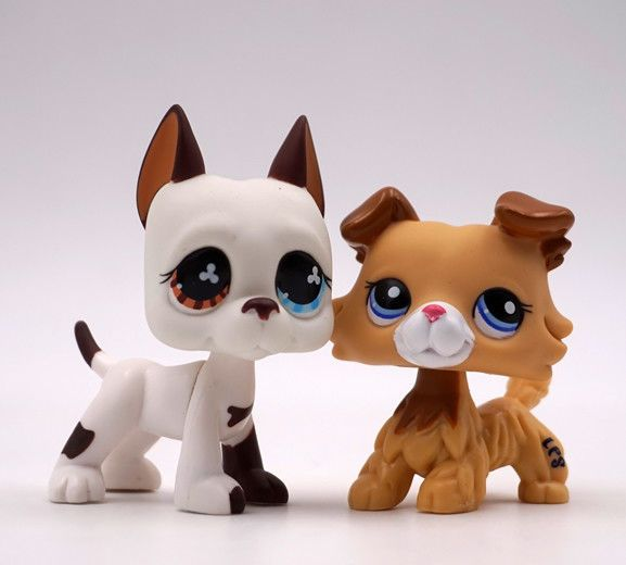 2pcs Great Dane Dog Collie Puppy 2452 577 Toy Figures Littlest