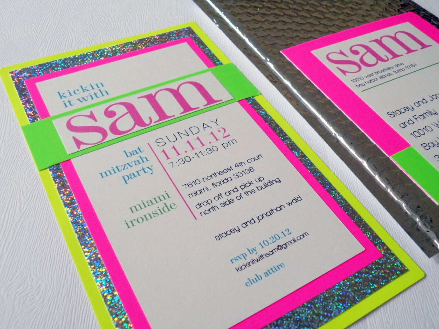 Neon and Silver Bat Mitzvah and Party Invitation | Bat mitzvah, Neon ...