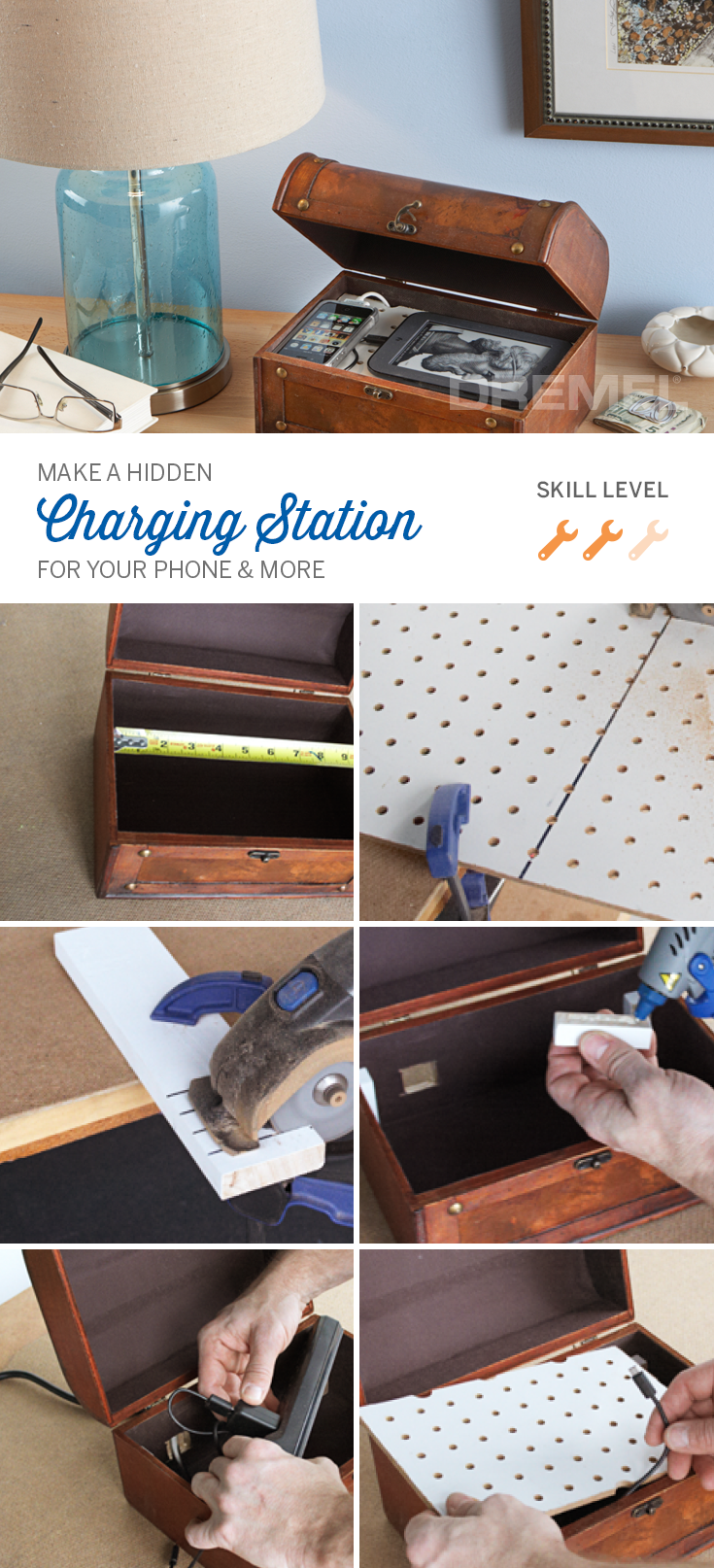 Stylish Charging Station Hiding Cords Helps Get Rid Of Clutter Plus This Diy Charging