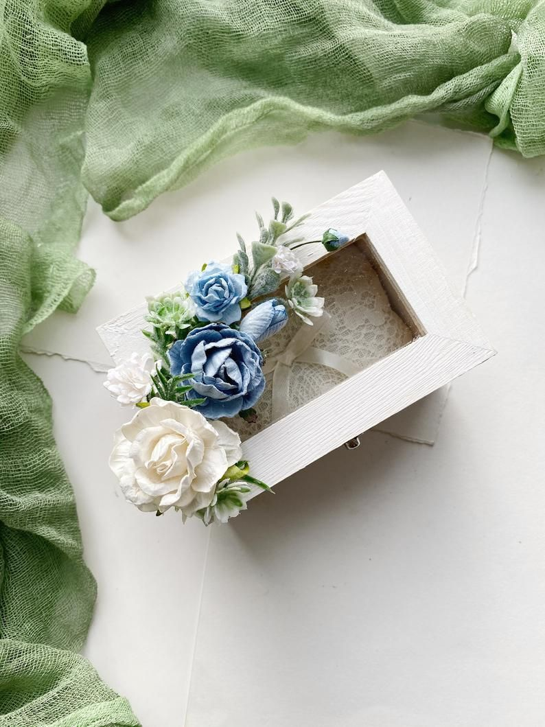 Wooden Wedding Ring Box Blue Flower Ring Bearer Box Ivory Wedding Ring Holder Ivory Flower Ring Holder Rustic Ring Box Woodland Wedding In 2021 Wooden Wedding Ring Wooden Ring Box Wedding Wedding