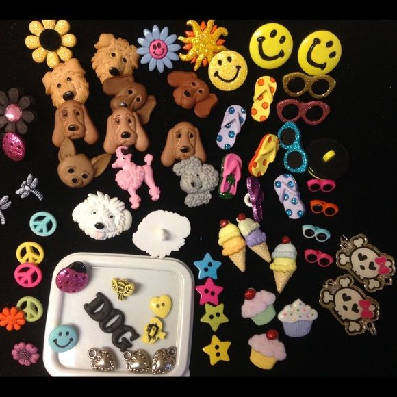 Jewelry making or to decorate clothing! Mixed lot of BUTTONS AND SILVER HEARTS, 2cute girl skulls- lot of 62 pieces!!! Use to make cute kids , doggie jewelry or clothing- see on or glue on!!!! Jewelry