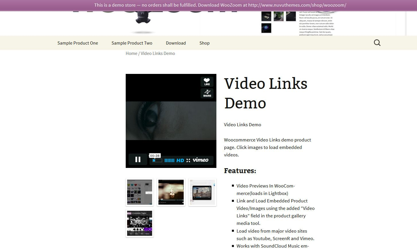 Woocommerce Video Links Pro Product Gallery Self Hosted