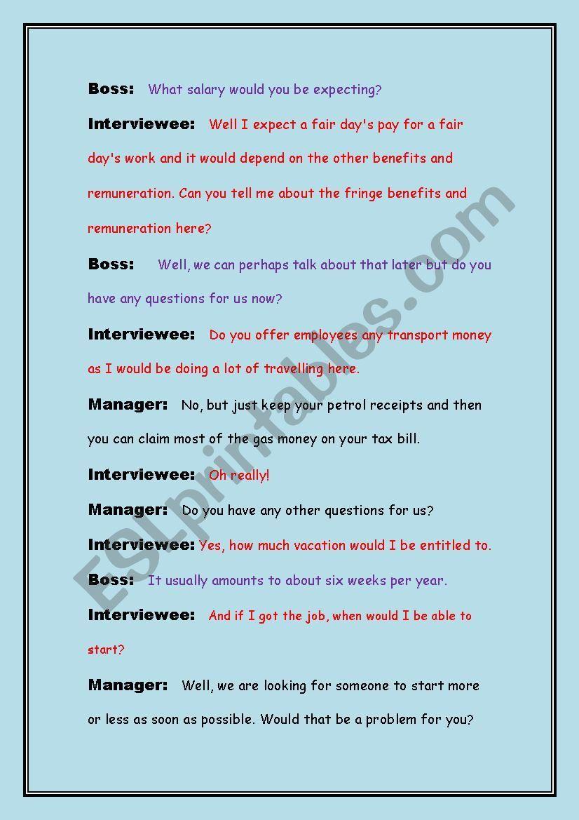 Job Interview Role Play Worksheet Job Interview Job Interview [ 1169 x 826 Pixel ]