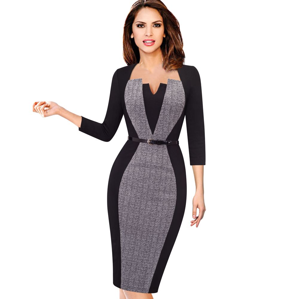 f2f07dfad4 Women Elegant Optical Illusion Patchwork Contrast Sashes Belted Vintage  Slim Work Office Business Party Bodycon Dress EB405   Price   35.99   FREE  Shipping ...