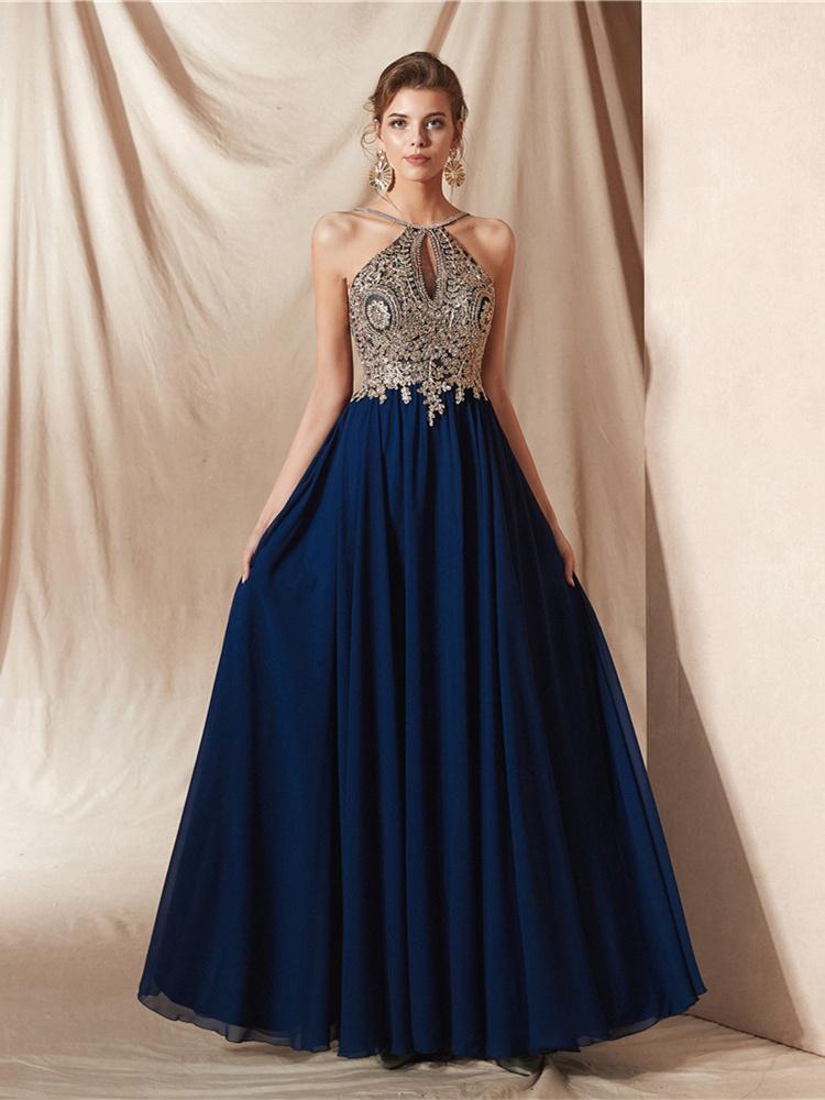 A Linie Rückenfreies Abendkleid Ballkleid Lang Blau