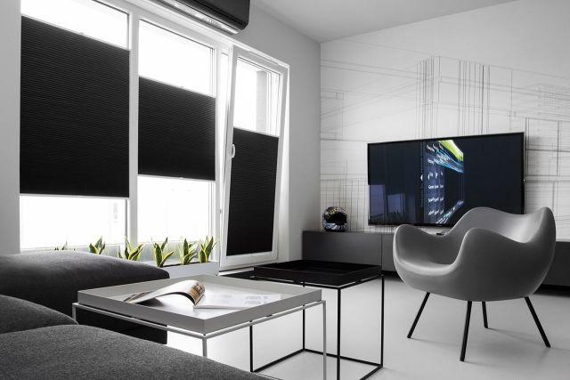 Moderne Wohnung Schwarz Weiß Grau Sessel Design Klassiker Schwarze Jalousien